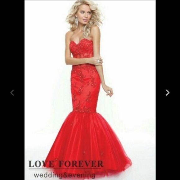 custom Dresses | Red Mermaid Style Prom Dress | Poshmark